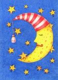 Illustration tirée par la main de lune de sommeil et d'étoiles drôles dans le ciel illustration stock