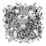 Illustration tirée par la main de médecine de griffonnages mignons de bande dessinée Croquis détaillé Images stock