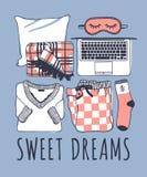 Illustration tirée par la main de mode de nuit Oeuvre d'art créative d'encre Dessin réel Ensemble confortable, plaid, masque, ord Image stock