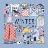 Illustration tirée par la main de mode Oeuvre d'art créative d'encre Dessin confortable réel de vecteur Ensemble d'hiver, usage,  Image libre de droits