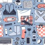 Illustration tirée par la main de mode Oeuvre d'art créative d'encre Dessin confortable réel de vecteur Modèle sans couture d'hiv Images stock