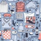 Illustration tirée par la main de mode Oeuvre d'art créative d'encre Dessin confortable réel de vecteur Modèle sans couture d'hiv Photos stock