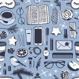 Illustration tirée par la main de mode Oeuvre d'art créative d'encre Dessin confortable réel de vecteur Modèle sans couture d'hiv Image stock