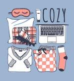 Illustration tirée par la main de mode Oeuvre d'art créative d'encre Dessin réel de vecteur Ensemble confortable, pyjamas, masque Photos libres de droits