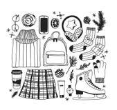 Illustration tirée par la main de mode Oeuvre d'art créative d'encre Patinage de glace confortable réel de dessin Grand sport d'h illustration stock