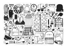 Illustration tirée par la main de mode Oeuvre d'art créative d'encre Patinage de glace confortable réel de dessin Grand sport d'h illustration de vecteur