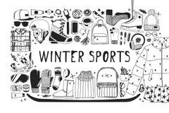 Illustration tirée par la main de mode Oeuvre d'art créative d'encre Patinage de glace confortable réel de dessin Grand sport d'h illustration libre de droits