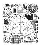 Illustration tirée par la main de mode Oeuvre d'art créative d'encre Patinage de glace confortable réel de dessin de vecteur Gran illustration de vecteur