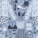 Illustration tirée par la main de mode Oeuvre d'art créative d'encre Patinage de glace confortable réel de fond Modèle sans coutu illustration stock