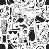 Illustration tirée par la main de mode Oeuvre d'art créative d'encre Patinage de glace confortable réel de fond Modèle sans coutu illustration de vecteur