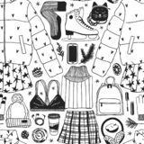 Illustration tirée par la main de mode Oeuvre d'art créative d'encre Patinage de glace confortable réel de fond de vecteur Modèle illustration de vecteur
