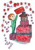 Illustration tirée par la main de Noël d'aquarelle d'un enfant avec une boîte de beaucoup de cadeaux sur le fond blanc illustration libre de droits