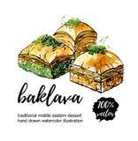 Illustration tirée par la main de nourriture de vecteur avec la baklava turque de dessert Image stock