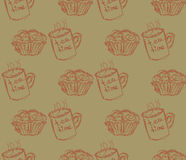 Illustration tirée par la main de petit déjeuner Dirigez la configuration sans joint Image stock