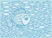 Illustration tirée par la main de poissons de bande dessinée mignonne Images libres de droits