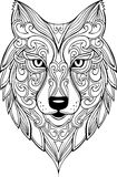 Illustration tirée par la main de tête de loup de griffonnage de vecteur illustration stock
