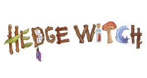 Illustration tirée par la main de typographie de Hedgewitch Concept de sorcière de nature hors des brindilles de forêt illustration de vecteur
