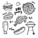 Illustration tirée par la main de vecteur - éléments de BBQ illustration de vecteur
