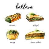 Illustration tirée par la main de vecteur avec la baklava turque de dessert Images stock