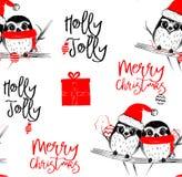 Illustration tirée par la main de vecteur avec deux hiboux mignons célébrant célébrant un Joyeux Noël - modèle sans couture illustration stock