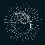 Illustration tirée par la main de vecteur avec la grenade Utilisé pour l'affiche, la bannière, la copie de T-shirt, la copie de s Photo stock