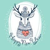 Illustration tirée par la main de vecteur avec les cerfs communs mignons Photographie stock libre de droits
