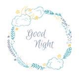 Illustration tirée par la main de vecteur - bonne nuit, carte avec la guirlande illustration de vecteur