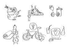 Illustration tirée par la main de vecteur d'icônes d'équipement de sport Photographie stock libre de droits