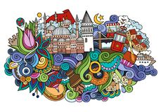 Illustration tirée par la main de vecteur d'Istanbul illustration stock