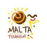 Illustration tirée par la main de vecteur de calibre de logo de tourisme de paradis d'été de Malte Photographie stock libre de droits