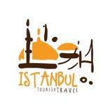 Illustration tirée par la main de vecteur de calibre de logo de voyage d'Istanbul Photos libres de droits
