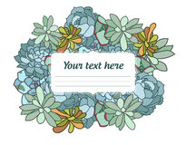 Illustration tirée par la main de vecteur de fleur succulente, avec le coin dans le style oriental, texte, conception plate Photos stock