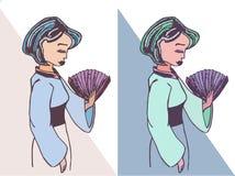 Illustration tirée par la main de vecteur de geisha Image libre de droits