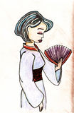 Illustration tirée par la main de vecteur de geisha Photos stock
