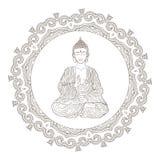 Illustration tirée par la main de vecteur de reposer Bouddha Photographie stock libre de droits