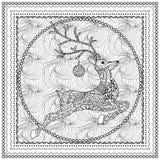 Illustration tirée par la main de vecteur de silhouette sautante de cerfs communs avec l'ornement décoratif, carte de Joyeux Noël Photo libre de droits