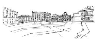 Illustration tirée par la main de vecteur de ville Image libre de droits