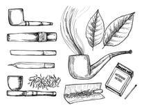 Illustration tirée par la main de vecteur de vintage - collection de tabac des illustration libre de droits
