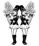 Illustration tirée par la main de vecteur des filles avec la trompette d'isolement illustration de vecteur
