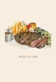 Illustration tirée par la main de vecteur du filet grillé assorti Photo stock