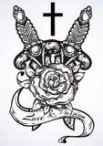 Illustration tirée par la main de vecteur du poignard deux avec la rose et la croix A admirablement détaillé l'illustration de cr illustration stock