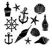 Illustration tirée par la main de vecteur - ensemble de mer Éléments pour la conception Images libres de droits