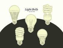 Illustration tirée par la main de vecteur de l'ensemble d'évolution d'ampoule Images stock
