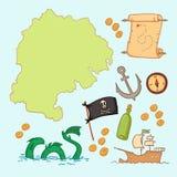 Illustration tirée par la main de vecteur - prisez la carte et concevez l'élément Images stock