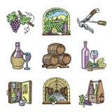 Illustration tirée par la main de vecteur de produit de viticulture d'établissement vinicole de cave de production vinicole d'alc illustration libre de droits