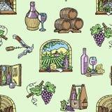 Illustration tirée par la main de vecteur de produit de viticulture d'établissement vinicole de cave de production vinicole d'alc illustration de vecteur