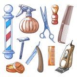 Illustration tirée par la main de vecteur de trousse d'outils de raseur-coiffeur illustration de vecteur