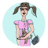 Illustration tirée par la main de vecteur Une fille avec un petit chien dans elle Image libre de droits