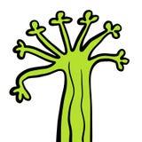 Illustration tirée par la main folle étrange verte d'arbre forestier illustration stock