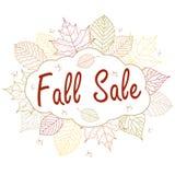 Illustration tirée par la main Fond avec des feuilles d'automne Forest Design Elements Vente de chute illustration stock